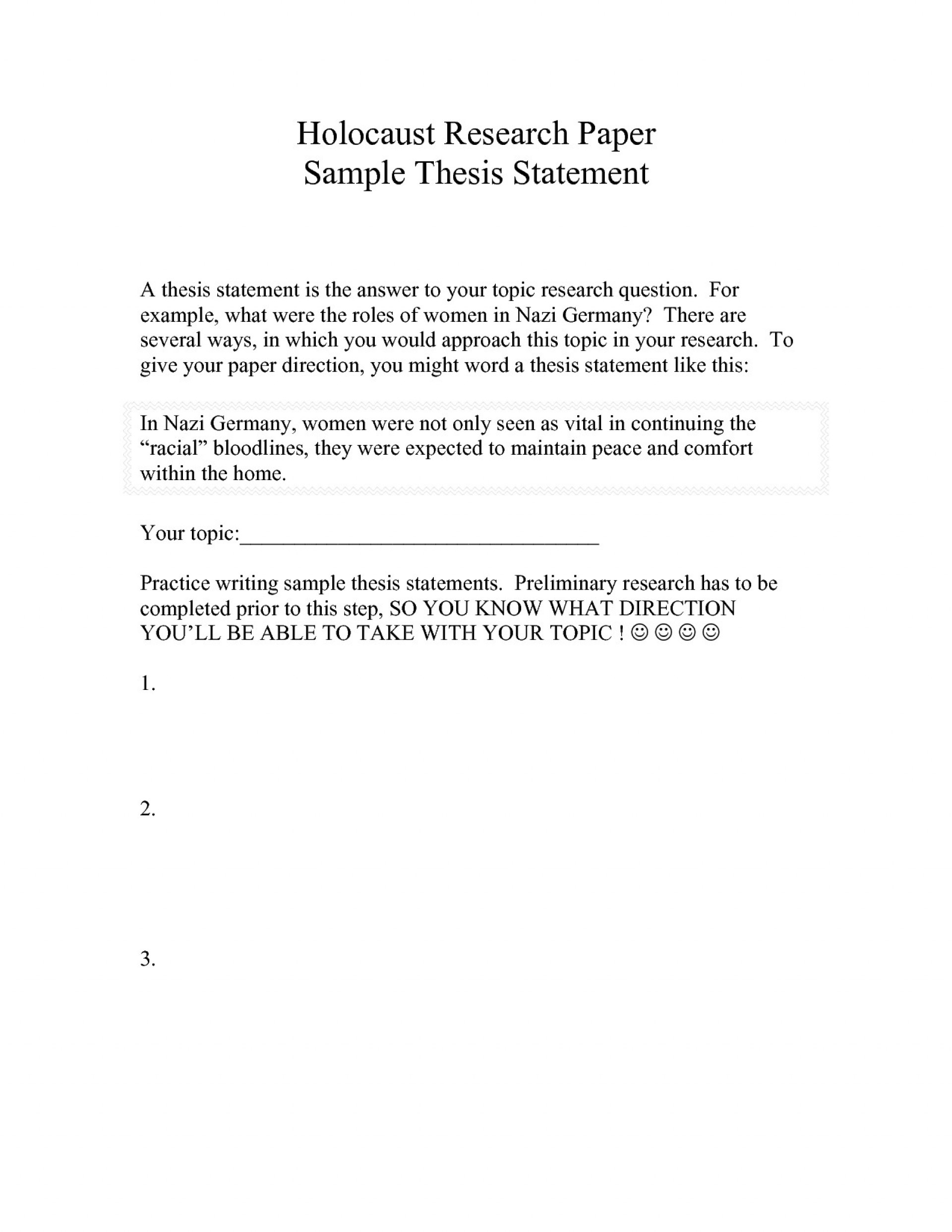 Thesis Statement Examples For History Research Papers - The Best Picture  History
