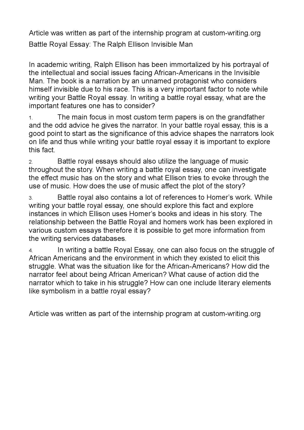008 Battle Royal Essay Questions Summary Royale Research Paper Topics Argumentative20 Striking Literature American Ideas English History Full