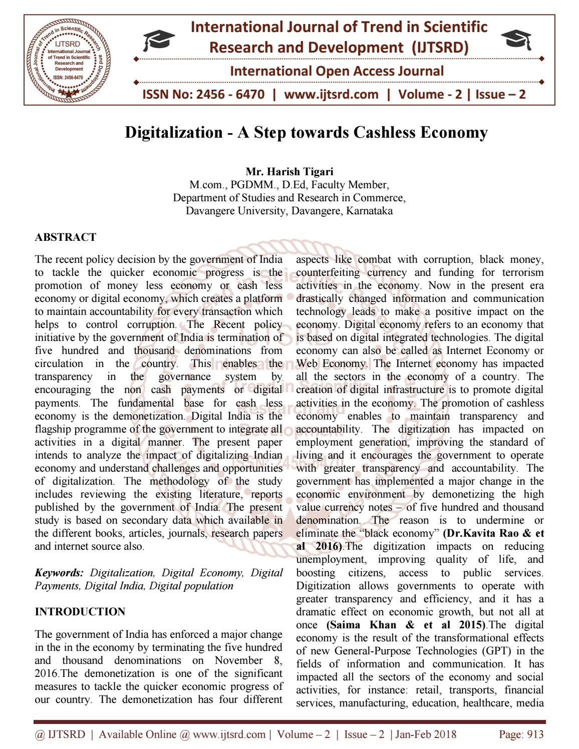 008 Cashless Economy Research Paper Page 1 Frightening Papers Pdf Cash To Full