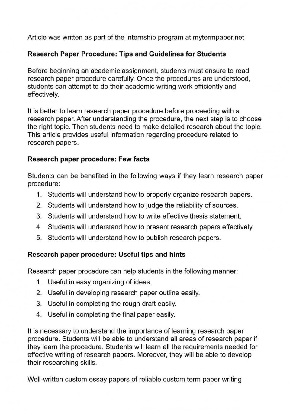 008 Developing Research Paper Outline Singular A 960