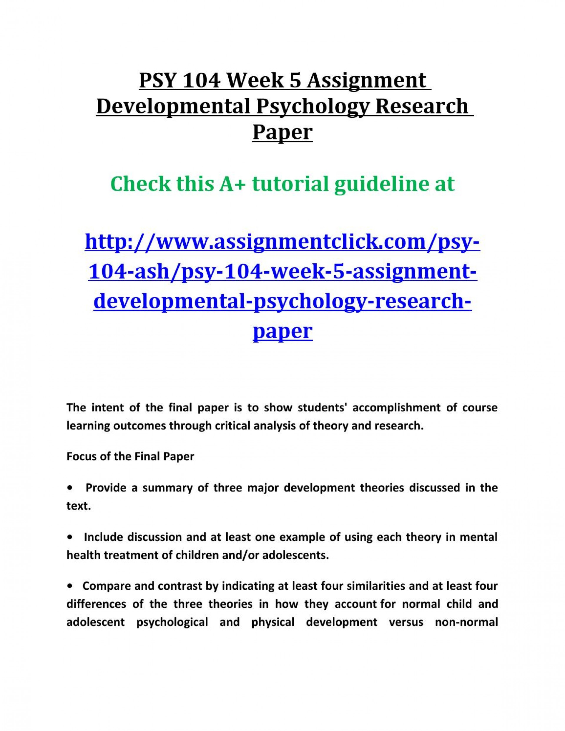 008 Developmental Psychology Research Paper Example Page 1 Sensational Sample 1920