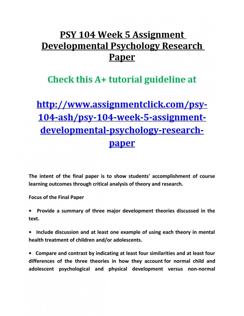 008 Developmental Psychology Research Paper Example Page 1 Sensational Sample