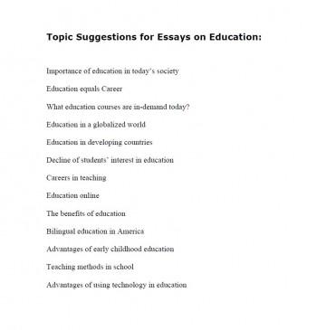 008 Education Research Paper Topic Suggestions For Essays Wondrous Ideas 360