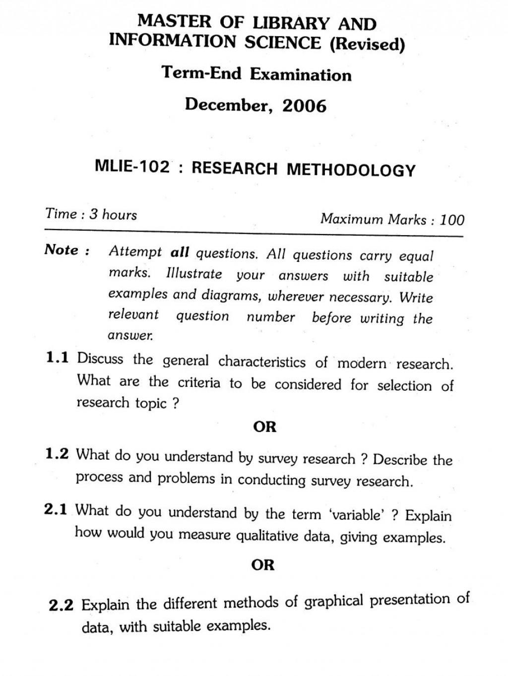 008 Ignou Master Of Library And Information Science Research Methodology Previous Years Questions Example For Unusual Paper In Quantitative Procedure Section A Large