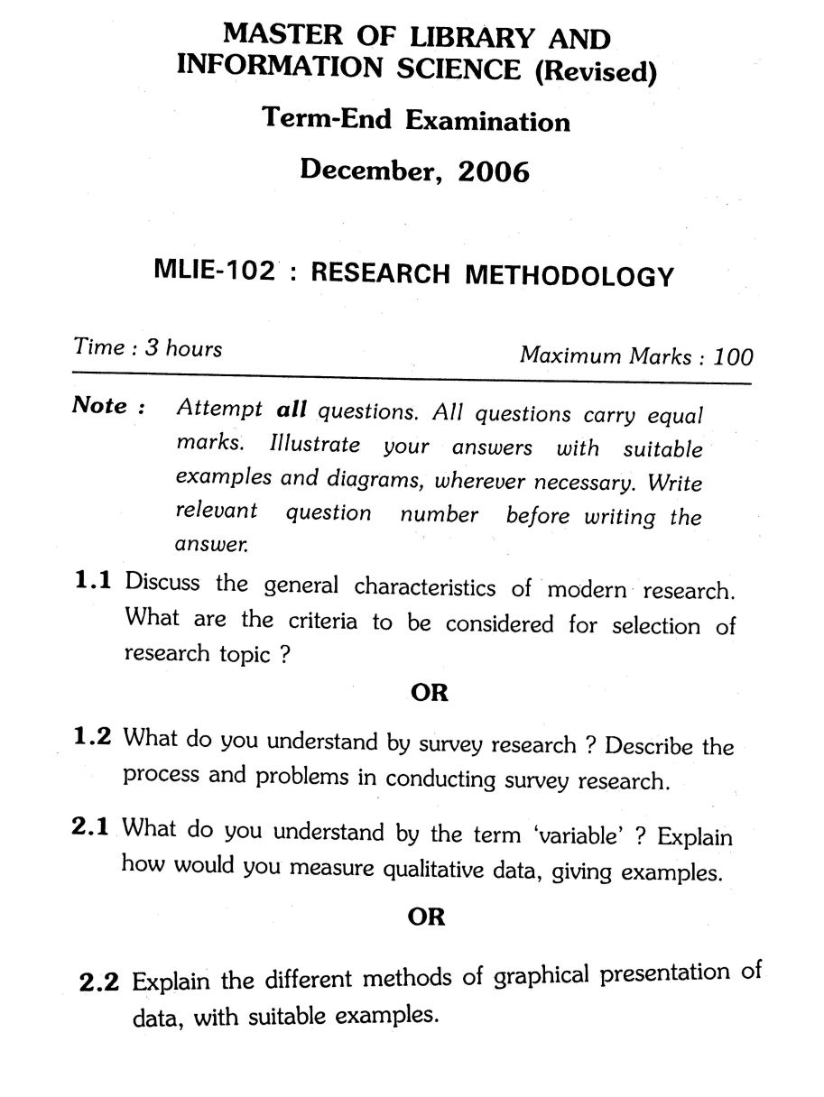 008 Ignou Master Of Library And Information Science Research Methodology Previous Years Questions Example For Unusual Paper In Quantitative Procedure Section A Full