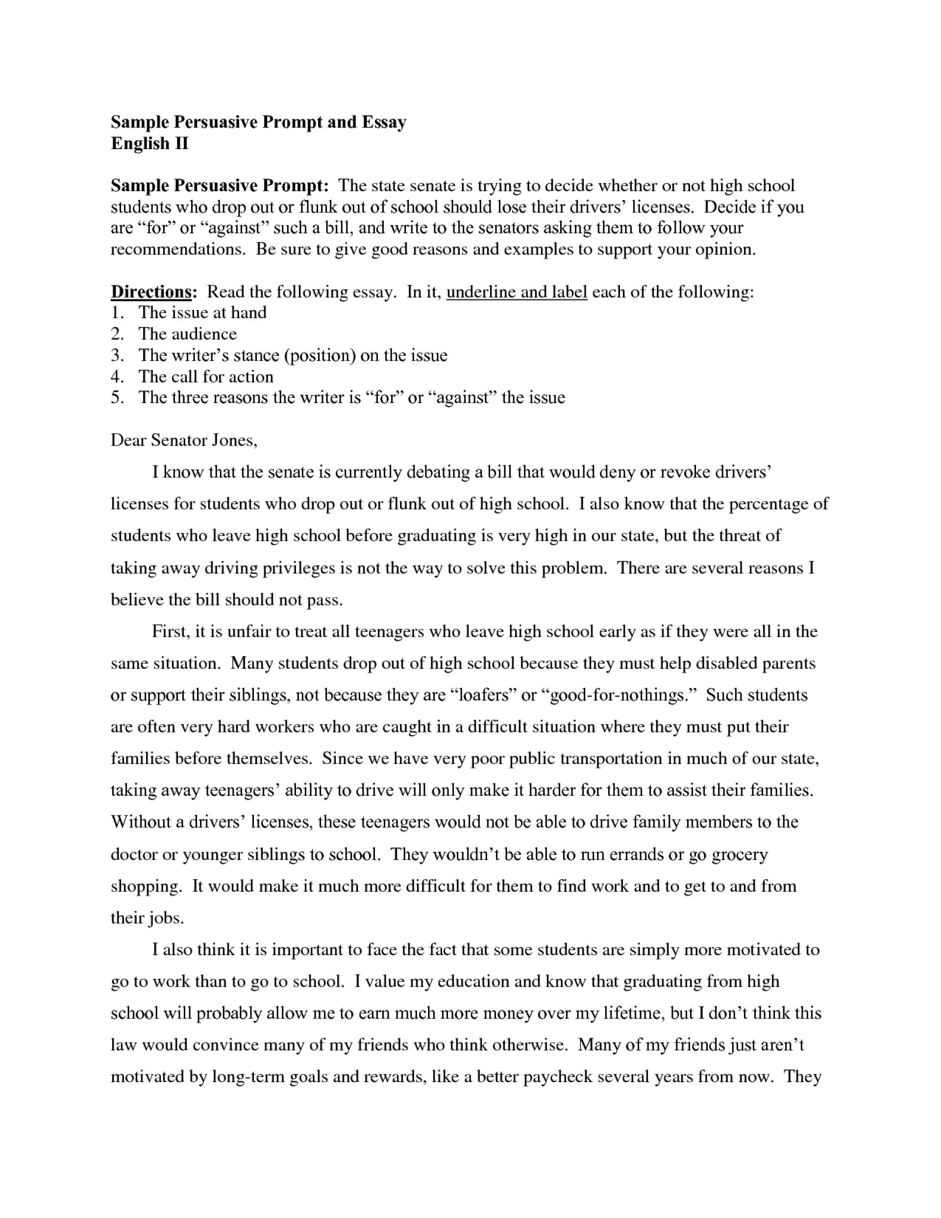 Essay Examples For High School  Jane Eyre Essay Thesis also English Essay About Environment  Persuasive Essay Topics For High School Sample Ideas  Essay On Healthy Living
