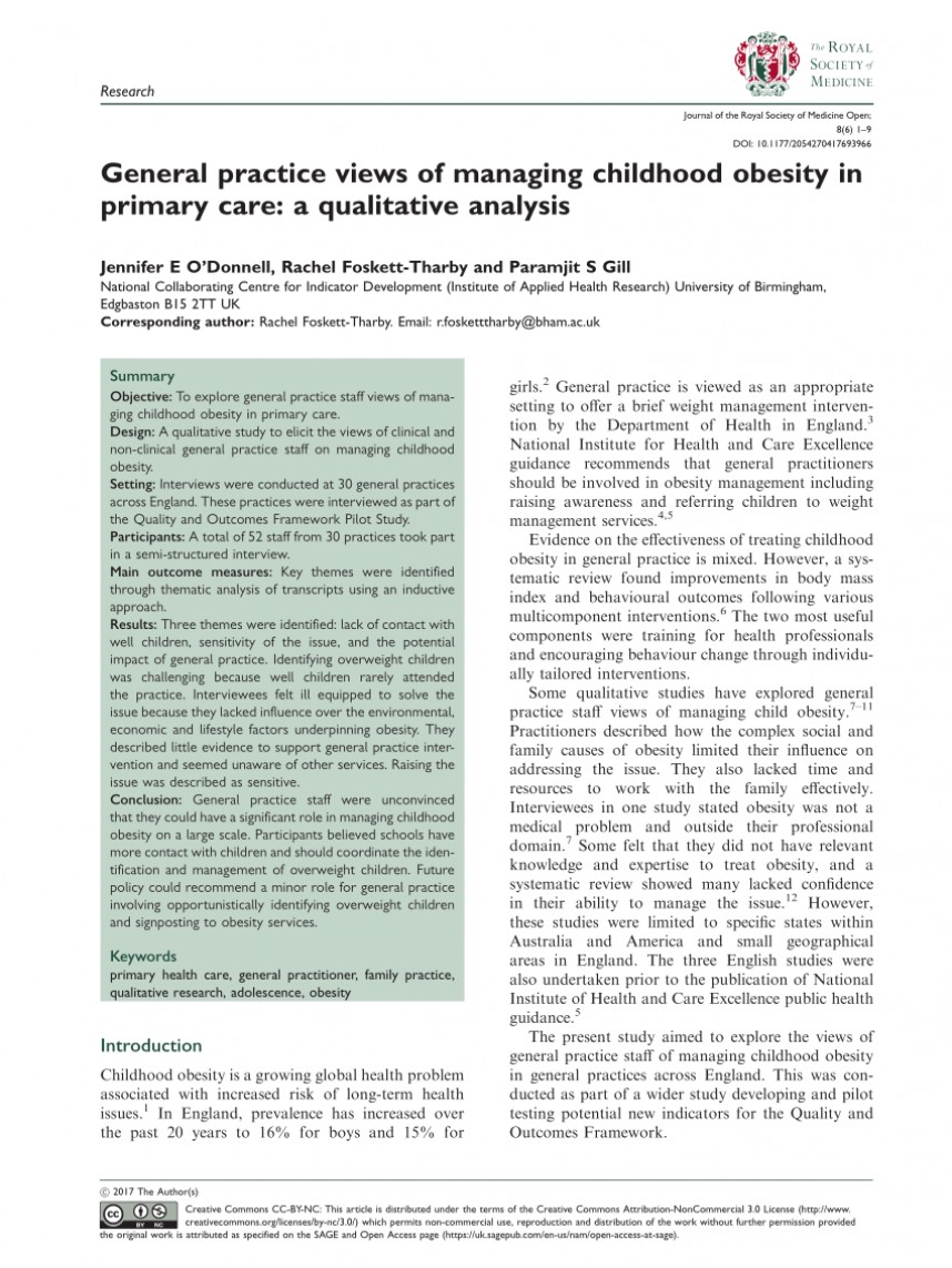 008 Primary Research Article On Childhood Obesity Paper Imposing 868