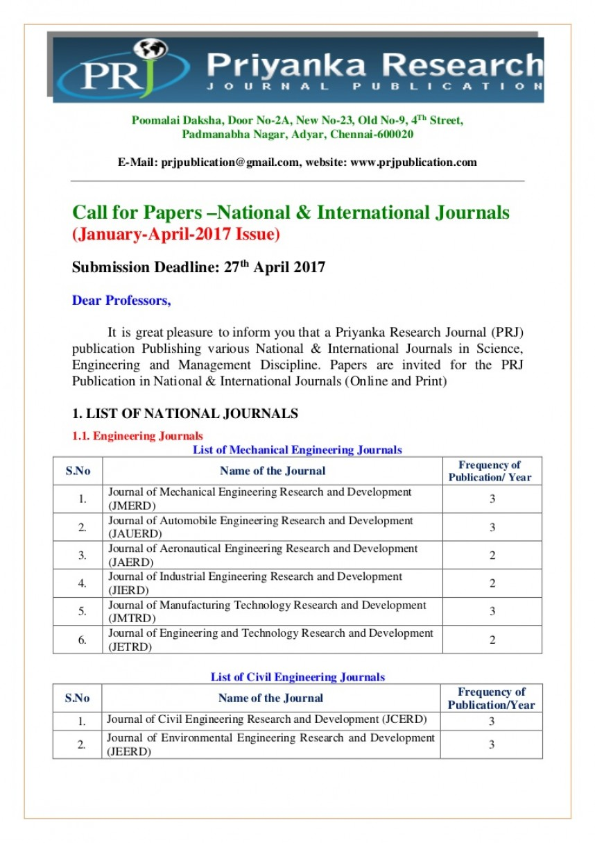 008 Prjpublicationcallforpaperjanapril2017 Thumbnail How To Publish Management Research Paper In International Archaicawful A Journal