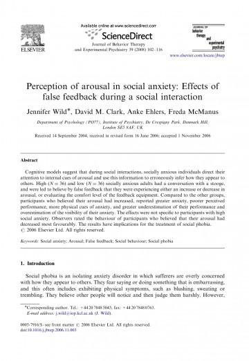 Research paper social anxiety disorder