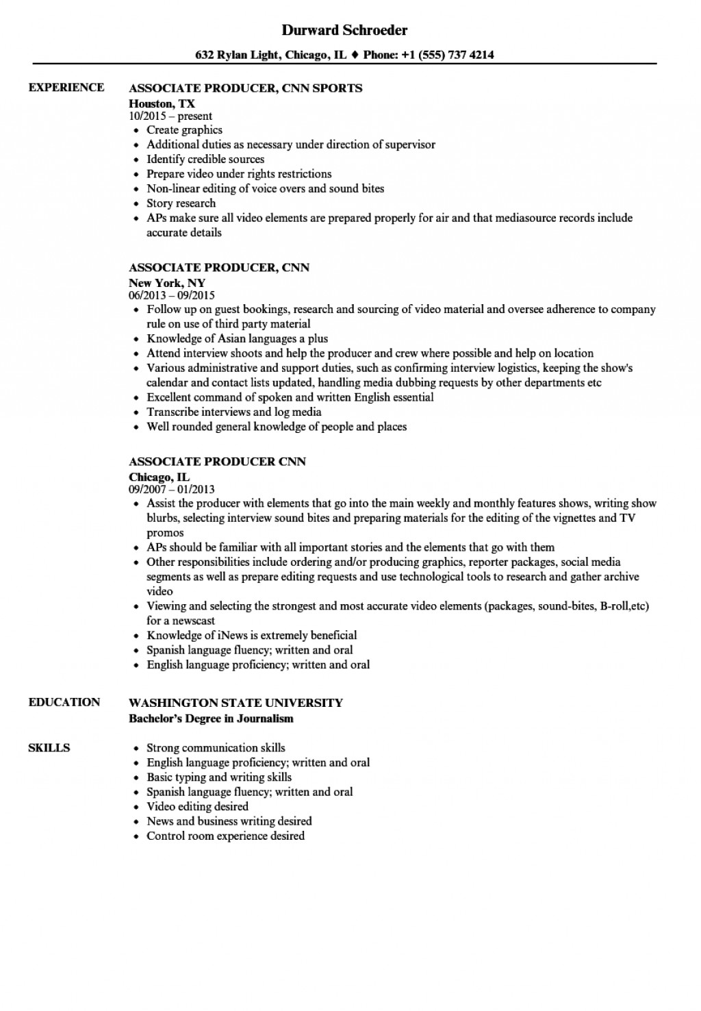 008 Research Paper Associate Producer Cnn Resume Sample Is Credible Source Staggering A For Large