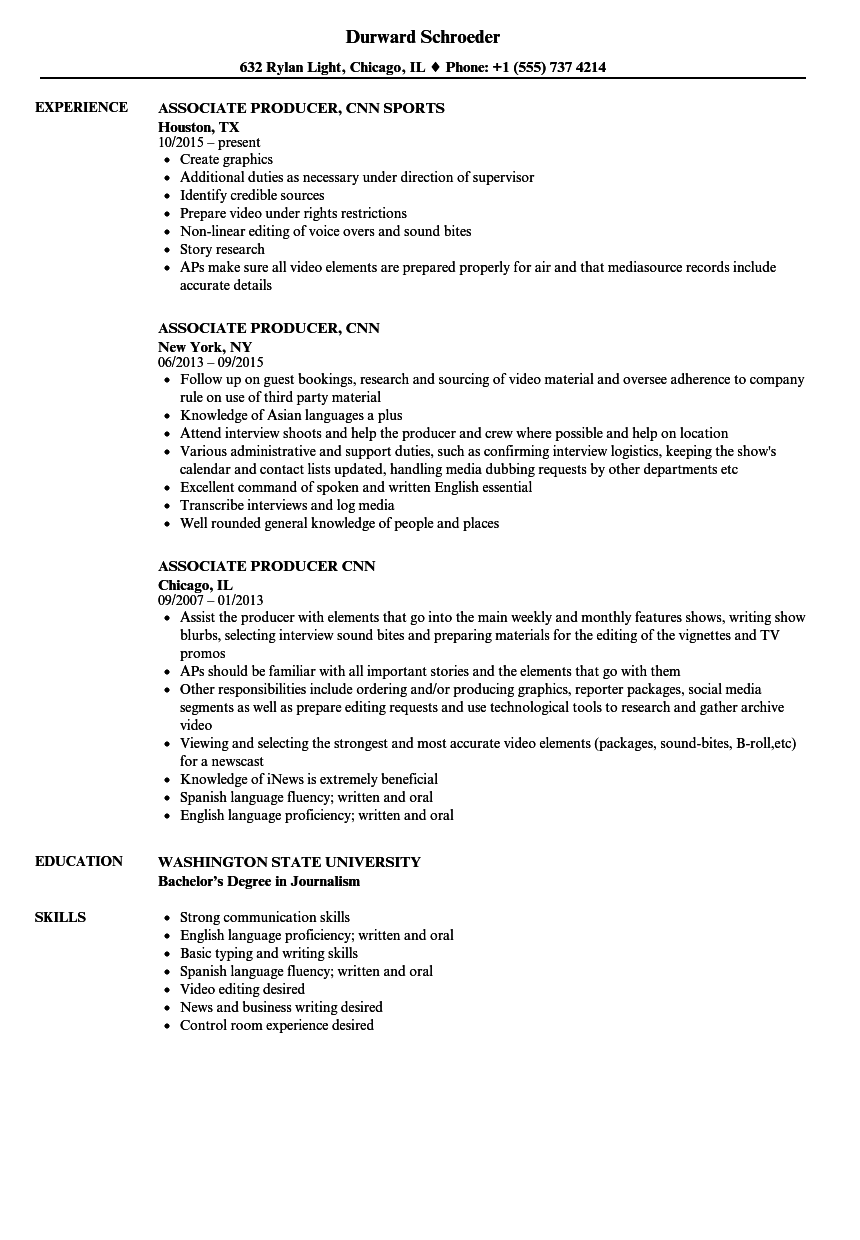 008 Research Paper Associate Producer Cnn Resume Sample Is Credible