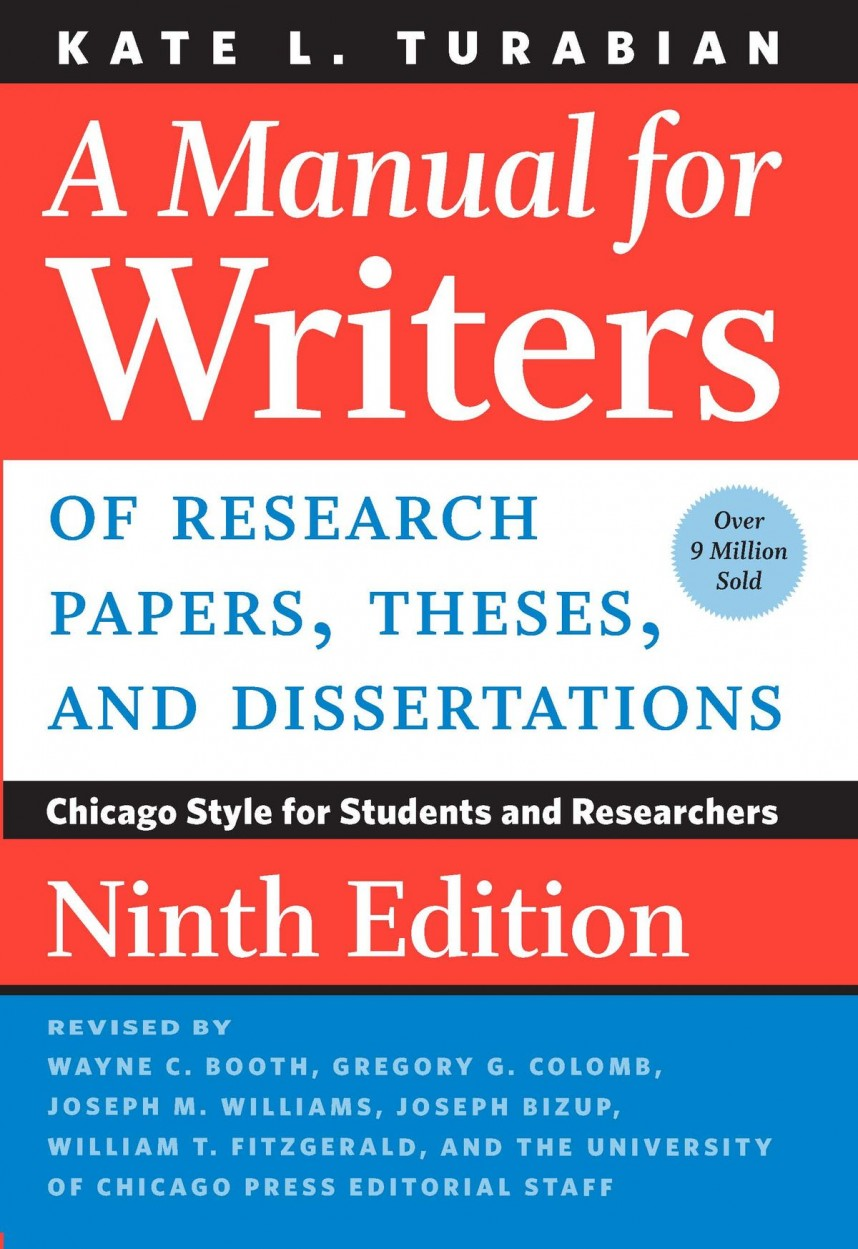 008 Research Paper Manual For Writers Of Papers Theses And Dissertations Ninth Edition Unbelievable A Ebook