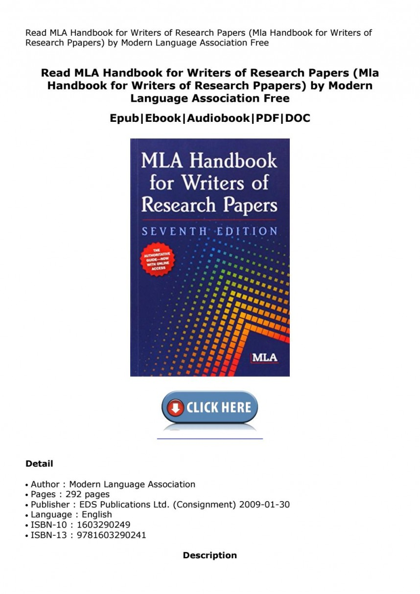008 Research Paper Page 1 Mla Handbook For Writing Frightening Papers Writers Of 8th Edition Pdf 7th 2009 Free Download