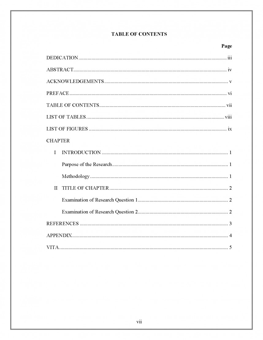 008 Research Paper Table Ofborder Apa Template With Of Surprising Contents