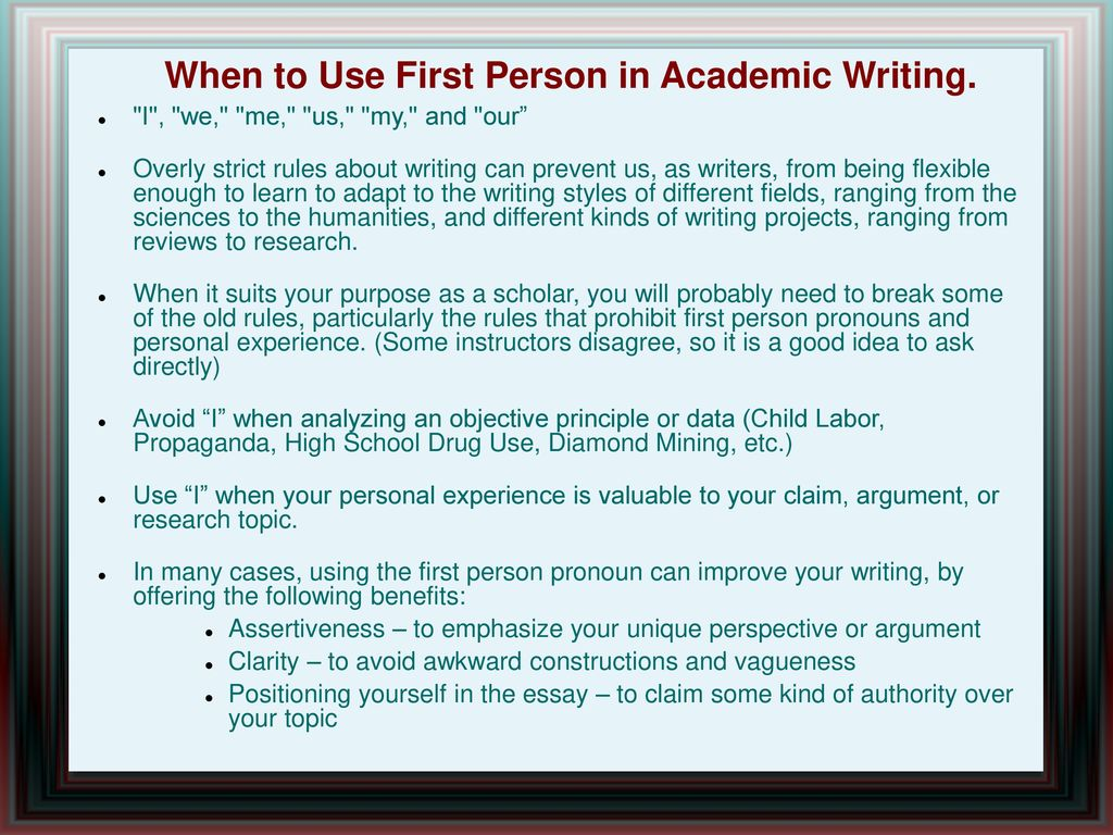 008 Whentousefirstpersoninacademicwriting Are Researchs Written In First Person Impressive Research Papers Proposals Full