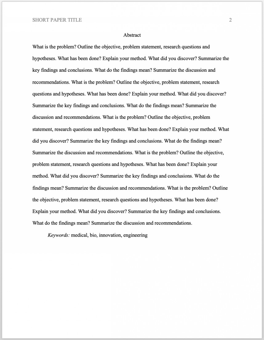 009 Apa Abstract Research Paper Format Reference Unique Page References