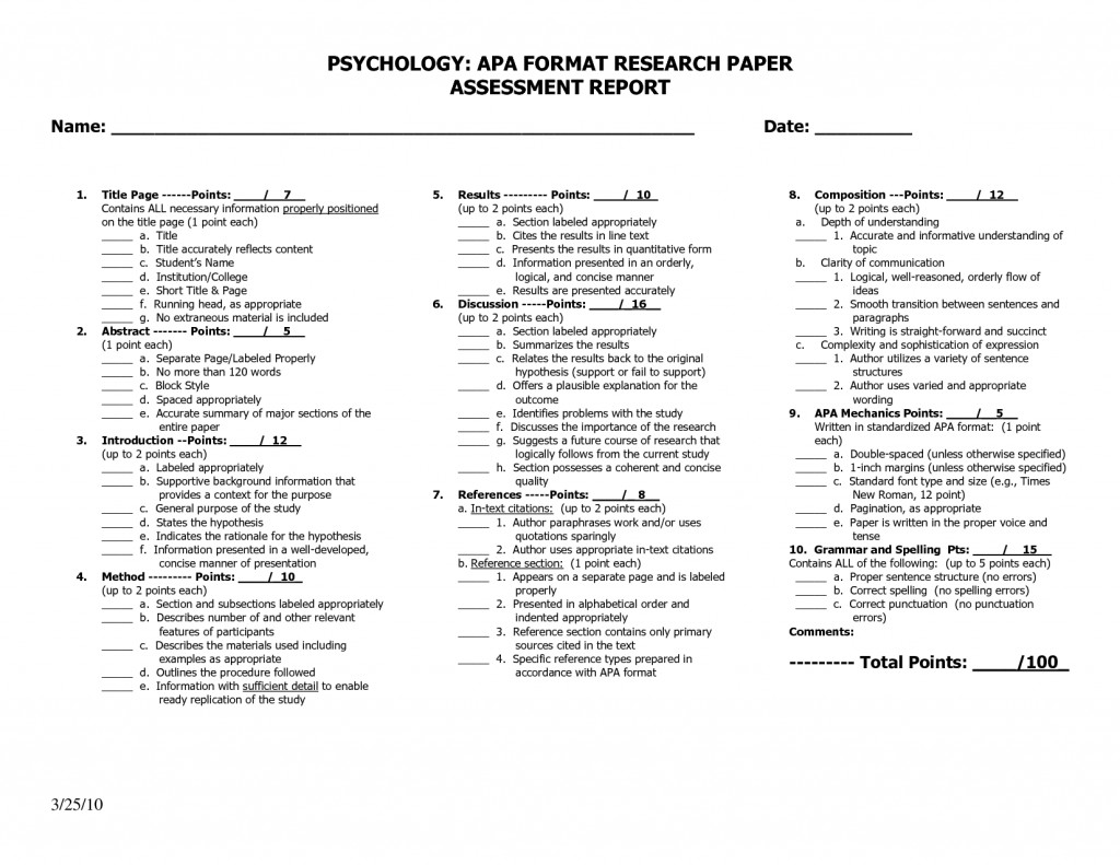 009 Apa Format For Psychology Research Paper How To Write Magnificent An Large