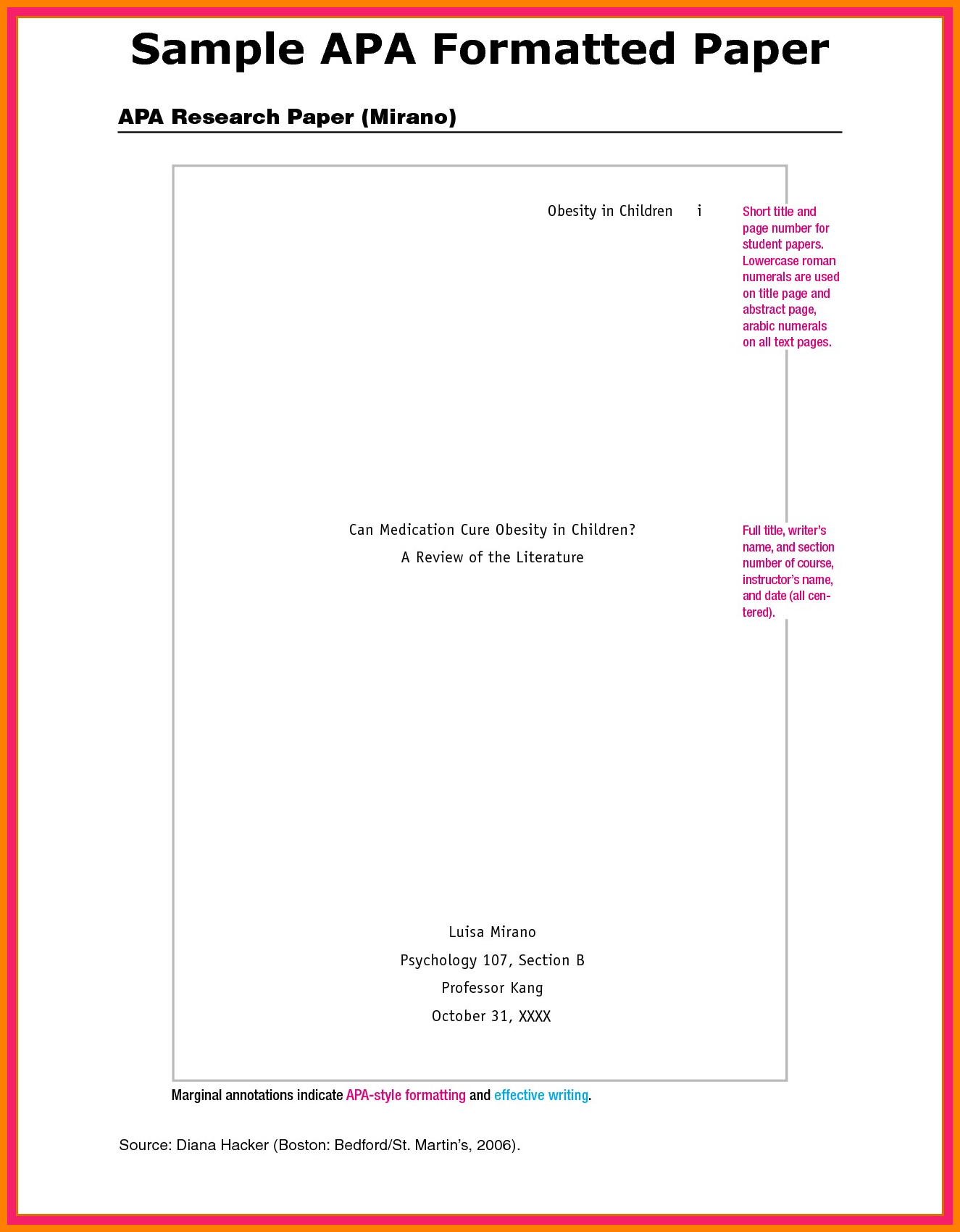 009 Apa Paper Format Appendix Example Research Of Appendices In Stupendous Sample Meaning Full