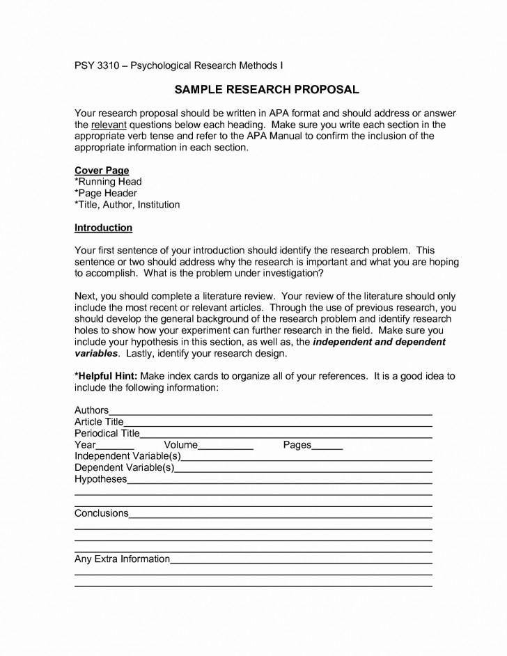 009 Apa Research Paper Proposal Sample Format Template Fresh Marvelous Style Example 728