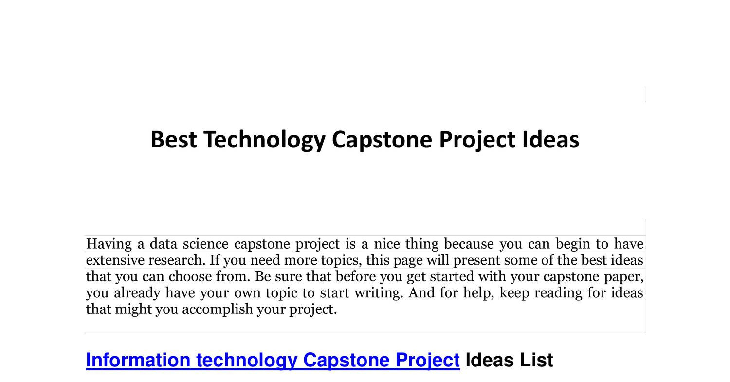 009 Best Technology Capstone Project Ideas Research Paper Topic For Shocking In Information Full