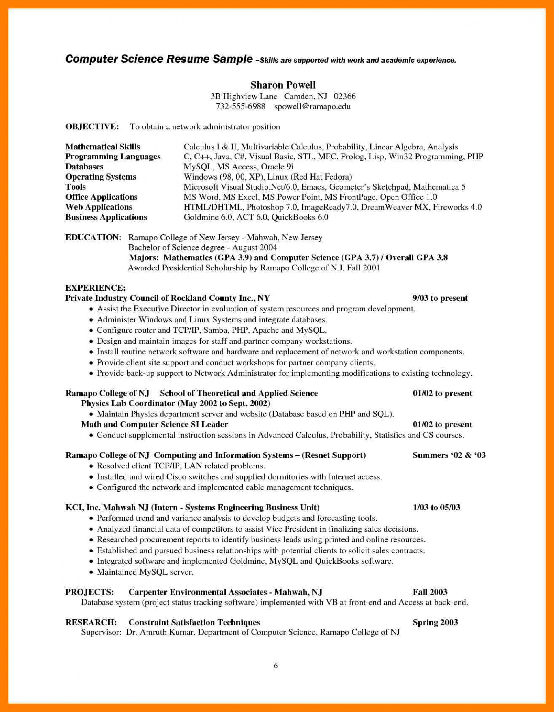 009 Computer Science Research Paper Topics Scientist Resume Examples Charming Ideas Sample Staggering 2017 1920