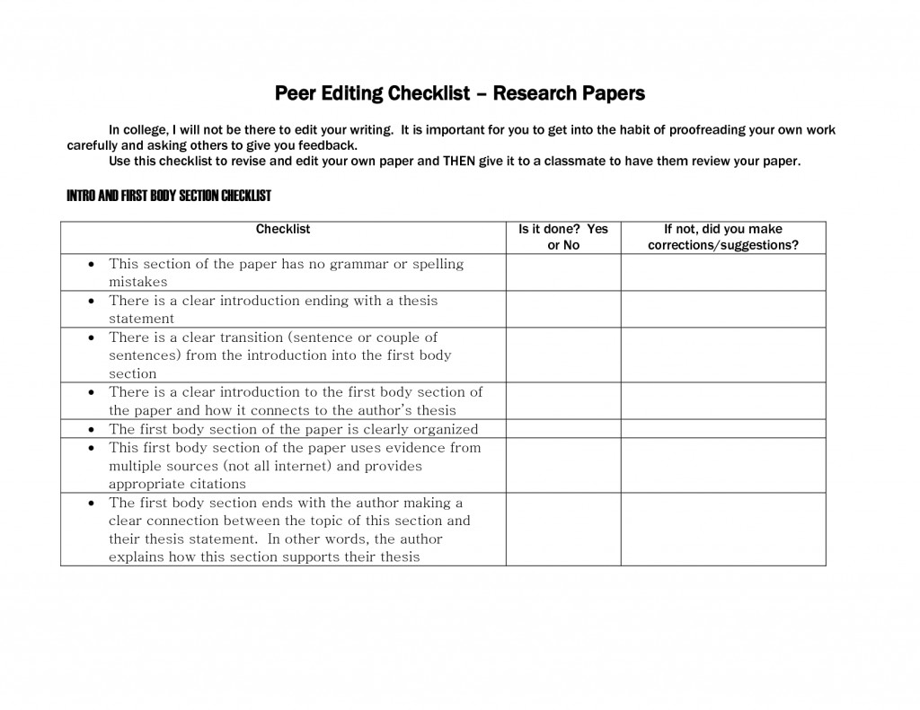 009 Ideas Of Research Paper Peer Edit Sheet Excellent Editing Worksheet Best Checklist Writing Services In Pakistan Free Large