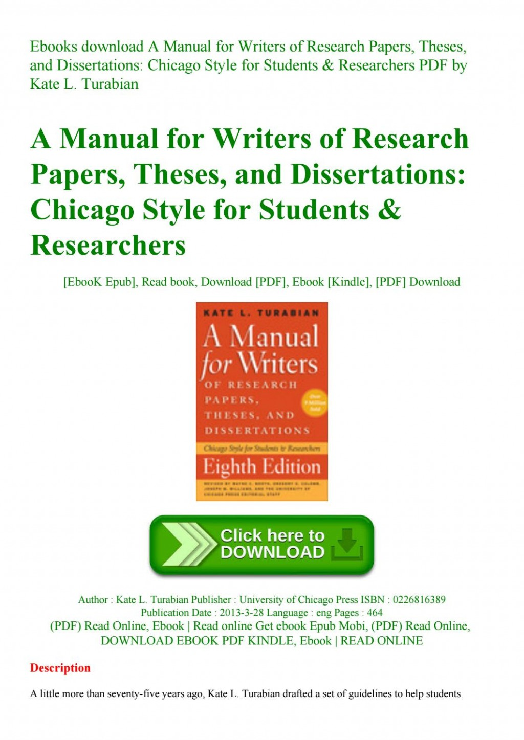 009 Manual For Writers Of Research Papers Theses And Dissertations Chicago Style Students Paper Page 1 Rare A Large