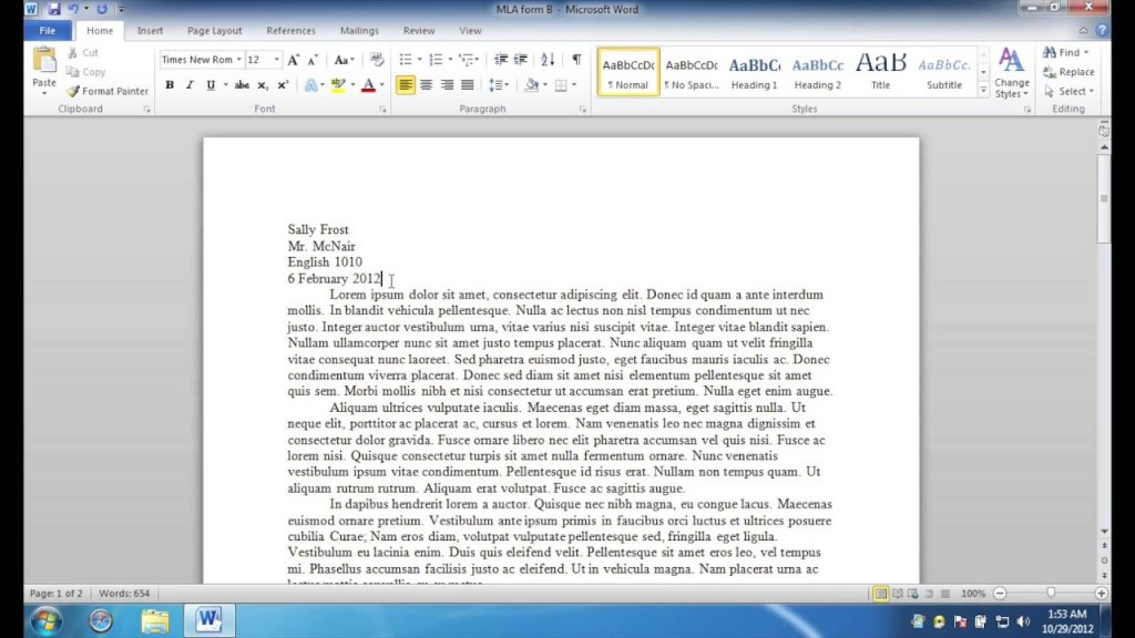 009 Mla Format For Essays And Researchs Using Microsoft Word Maxresdefault Stirring Research Papers 2010 Large