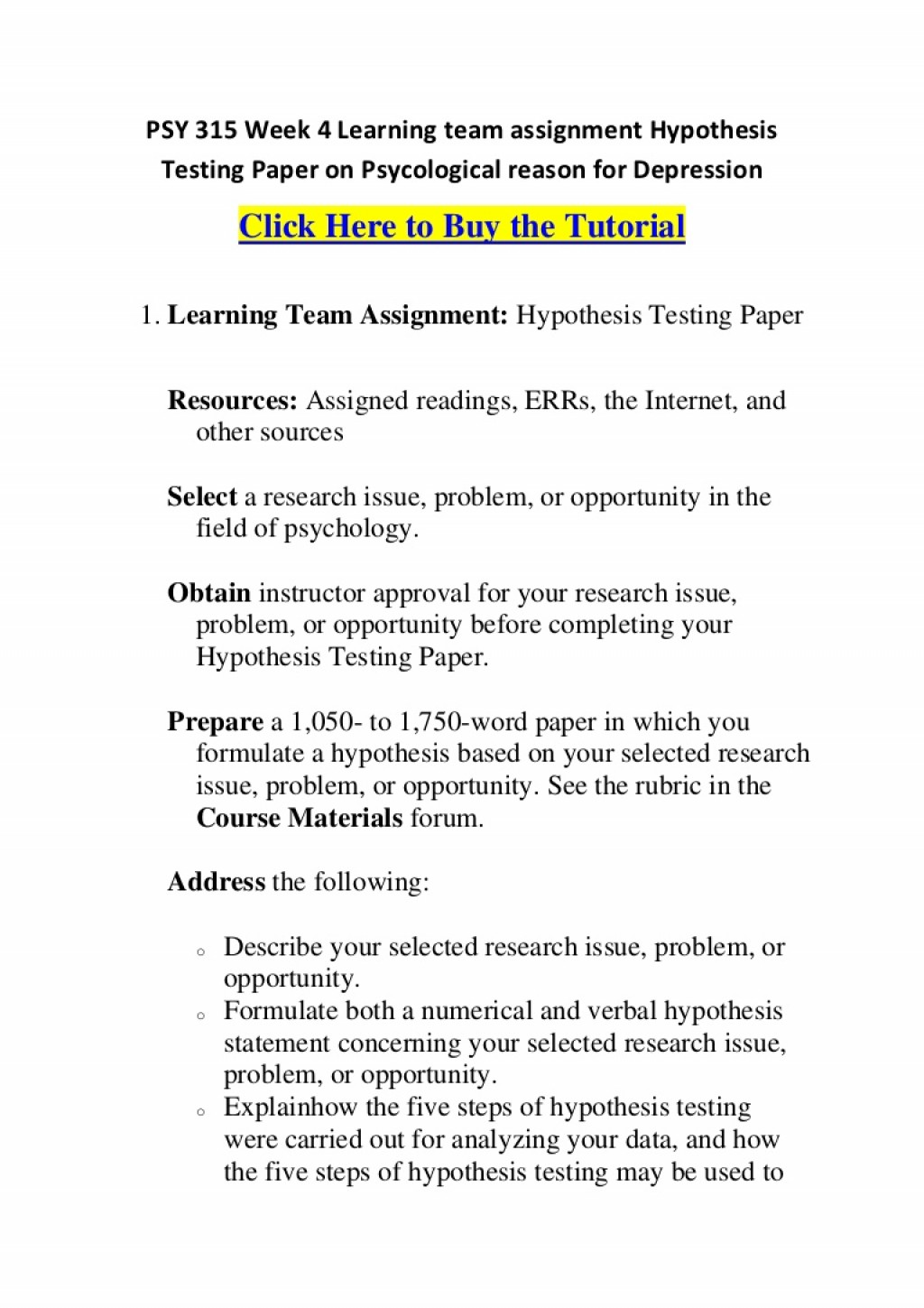 009 Psy315week4learningteamassignmenthypothesistestingpaperonpsycologicalreasonfordepression Phpapp01 Thumbnail Hypothesis Testing In Research Awesome Paper Pdf Large