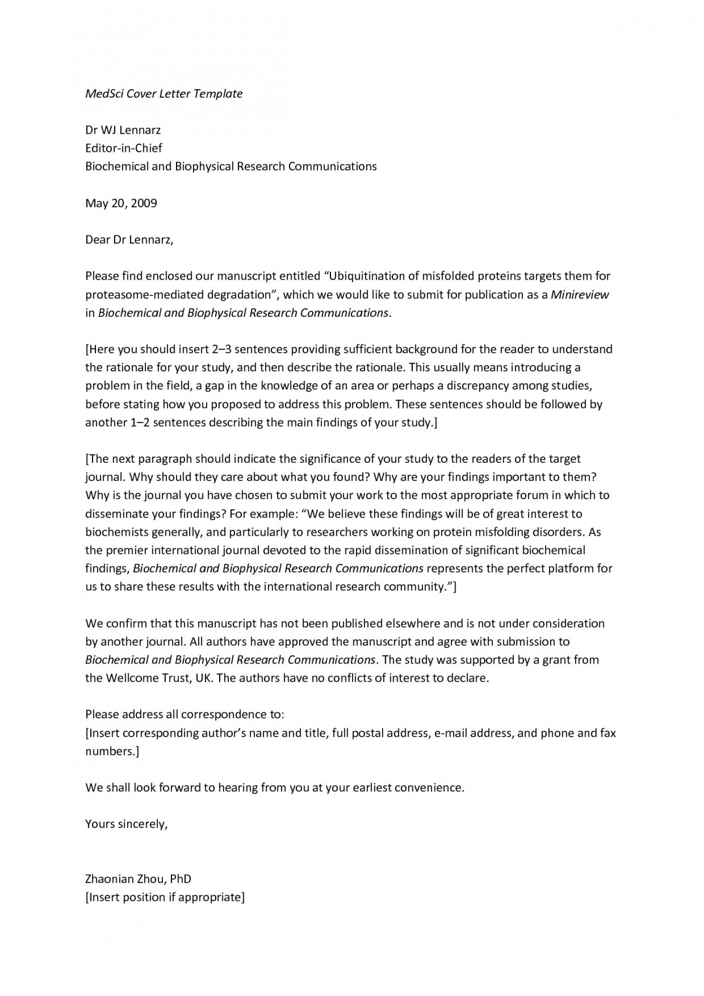 Cover Letter Format For Research Paper Submission Sample Cover Letter