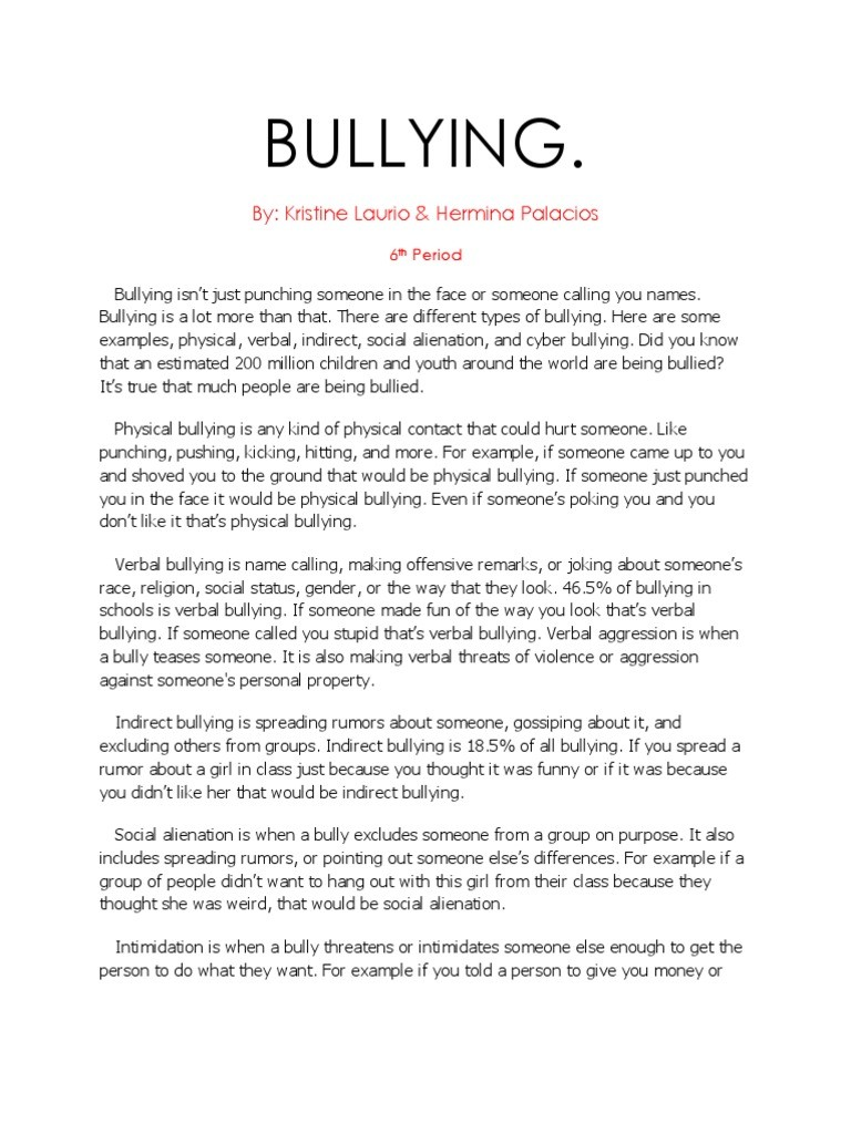 009 Research Paper Cyberbullying Example Uncategorized Bullying Essays Essay Breathtaking Sample Full