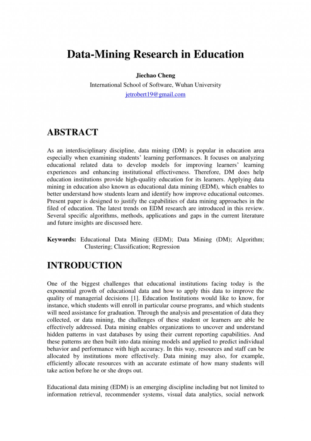 009 Research Paper Educational Data Mining Papers Pdf Sensational Large