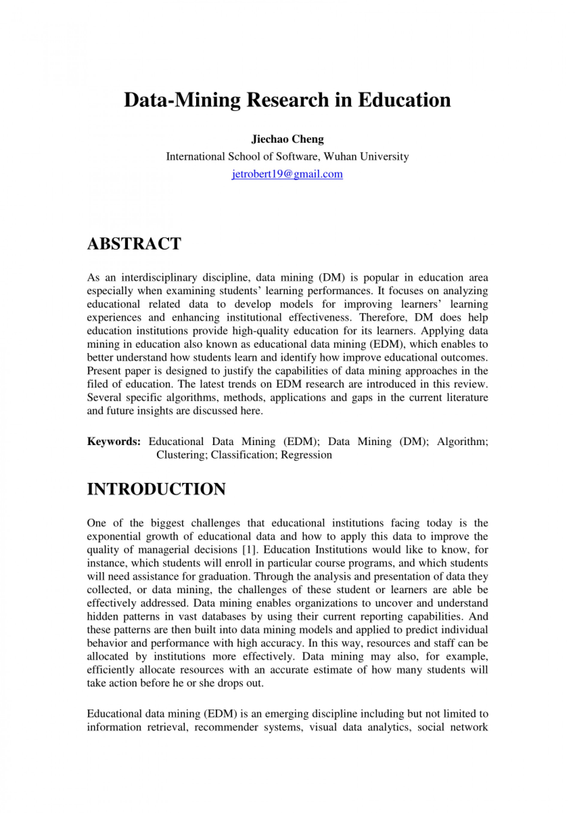 009 Research Paper Educational Data Mining Papers Pdf Sensational 1920