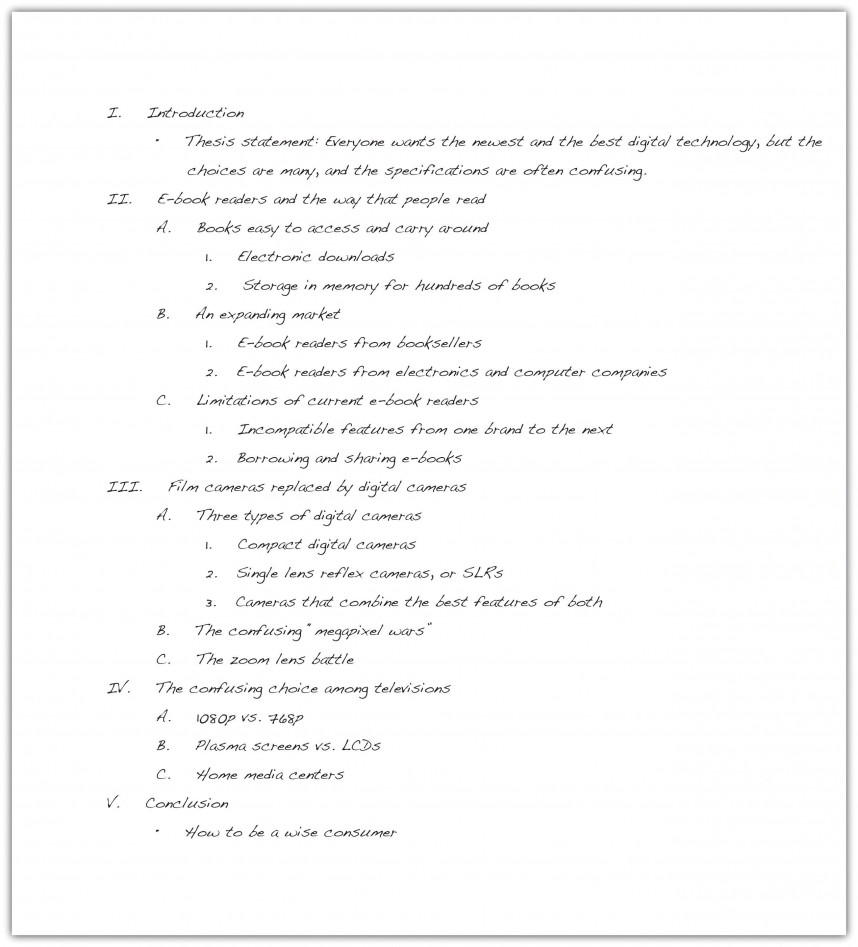 009 Research Paper Example Outline Thesis Statement Staggering