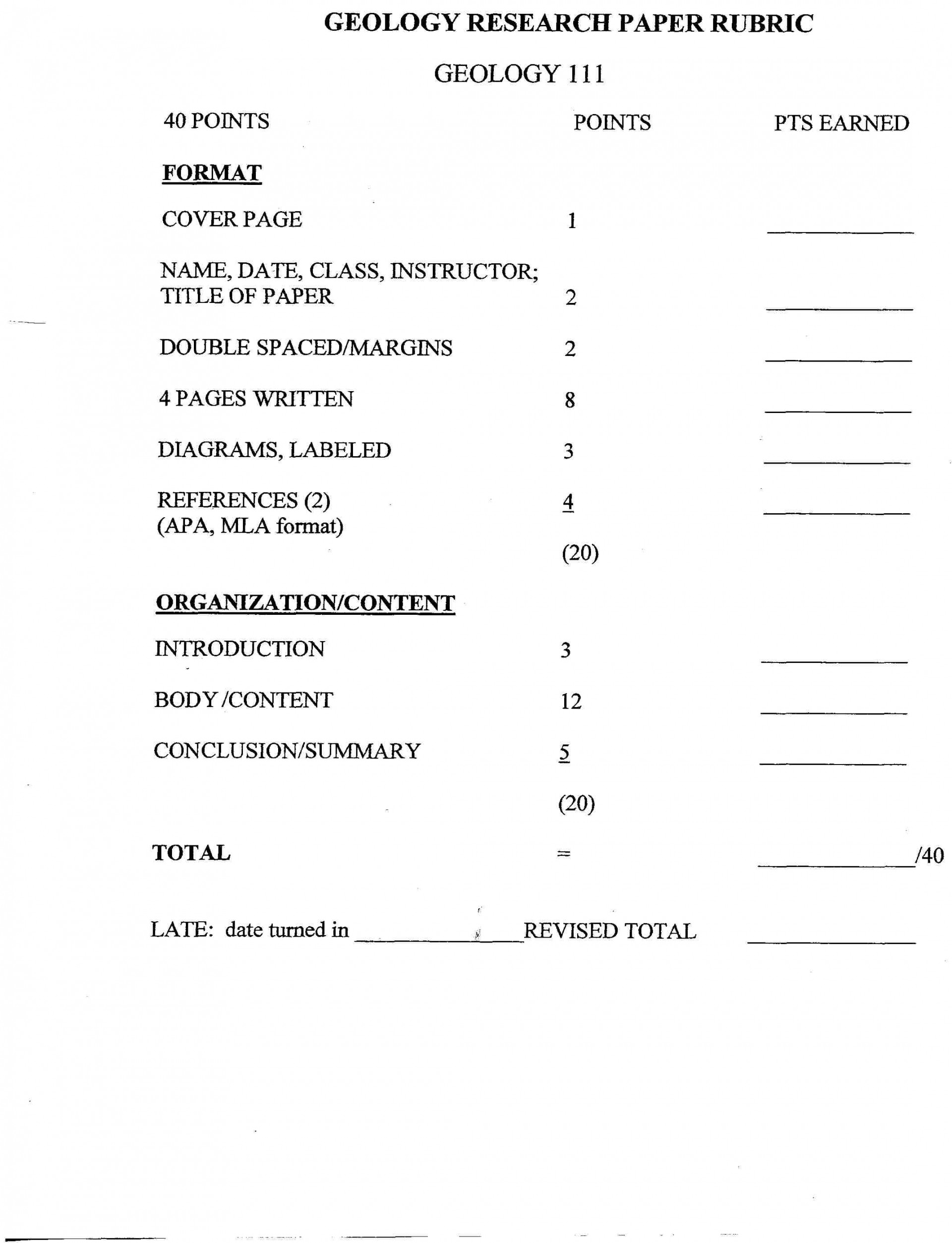 009 Research Paper High School Physics Rubric Short Grading Unforgettable 1920