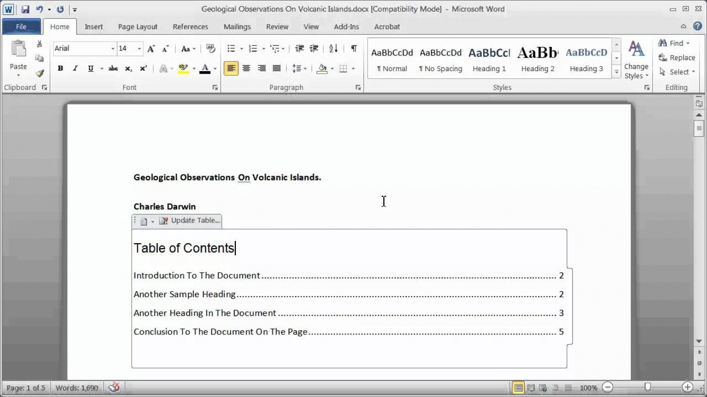 009 Research Paper How To Make Table Of Contents In Exceptional A 1400