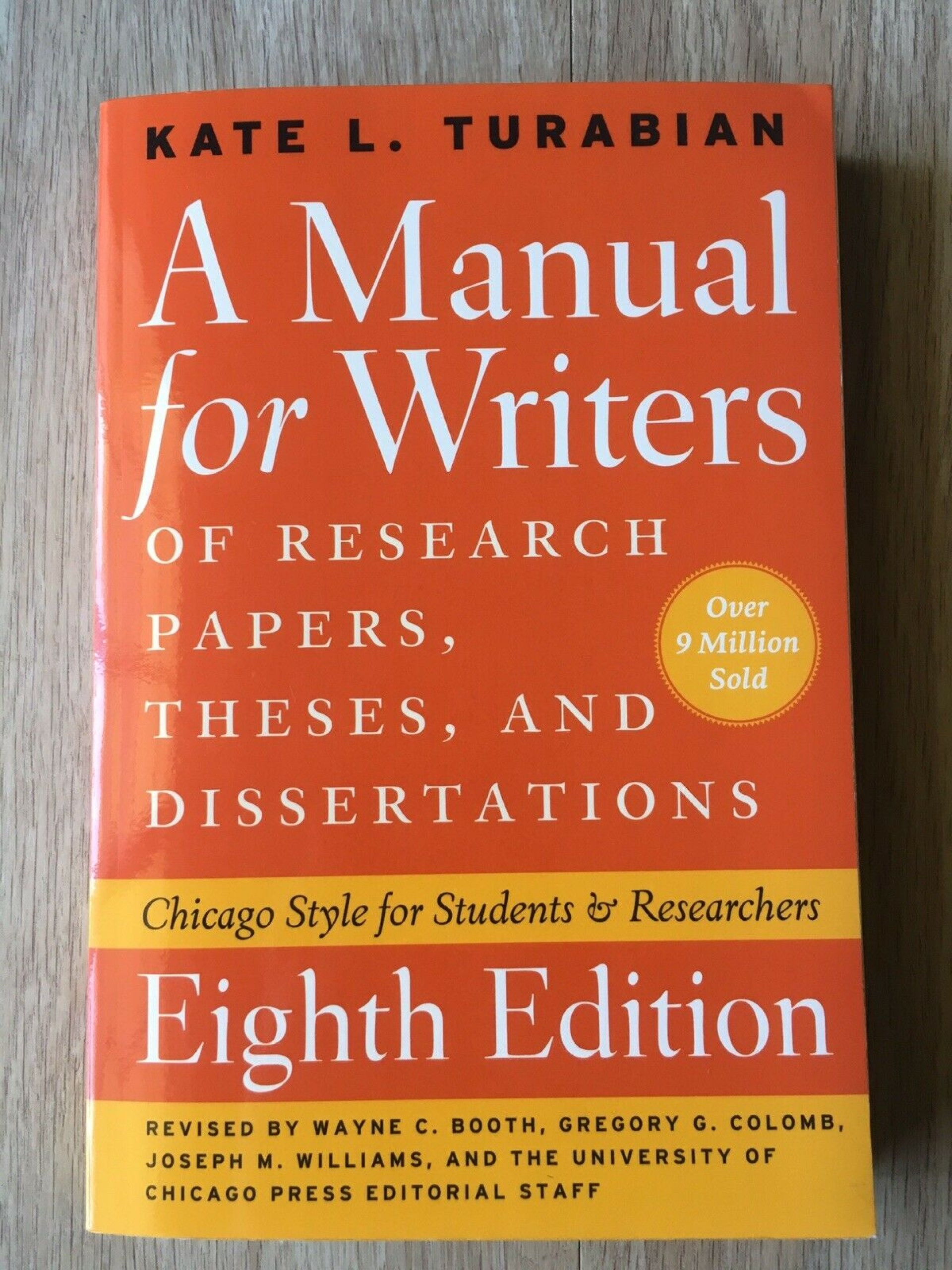 009 Research Paper Manual For Writers Of Papers Theses And Dissertations S Fearsome A Ed 8 1920