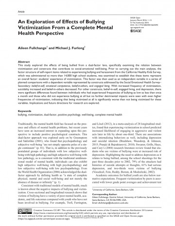 009 Research Paper Psychological Effects Of Breathtaking Bullying 360