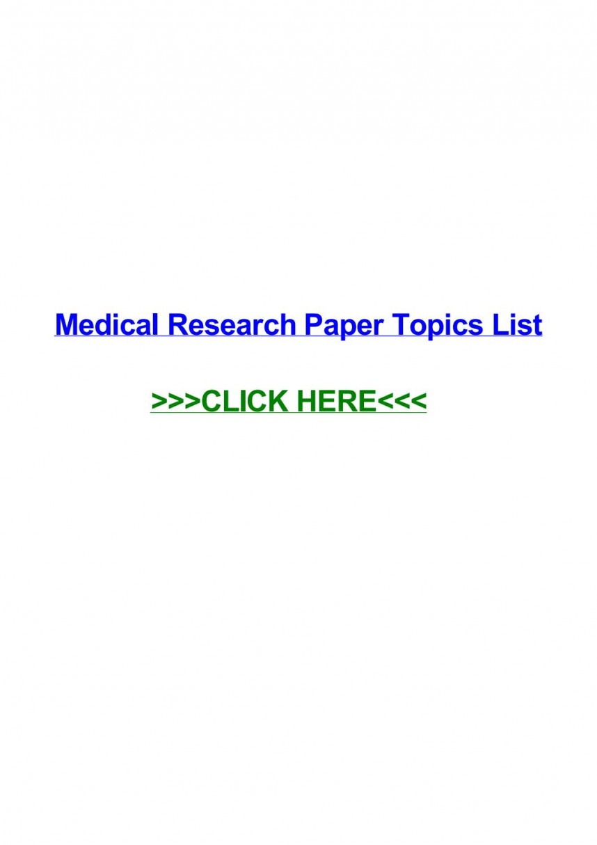 009 Research Paper Topics Medical Page 1 Impressive For Assistants Ethics Technology