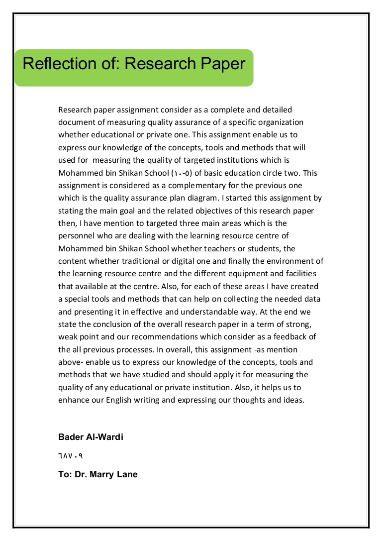 009 Researchpaperreflection Phpapp02 Thumbnail Research Paper Stupendous Generator Thesis Download Full