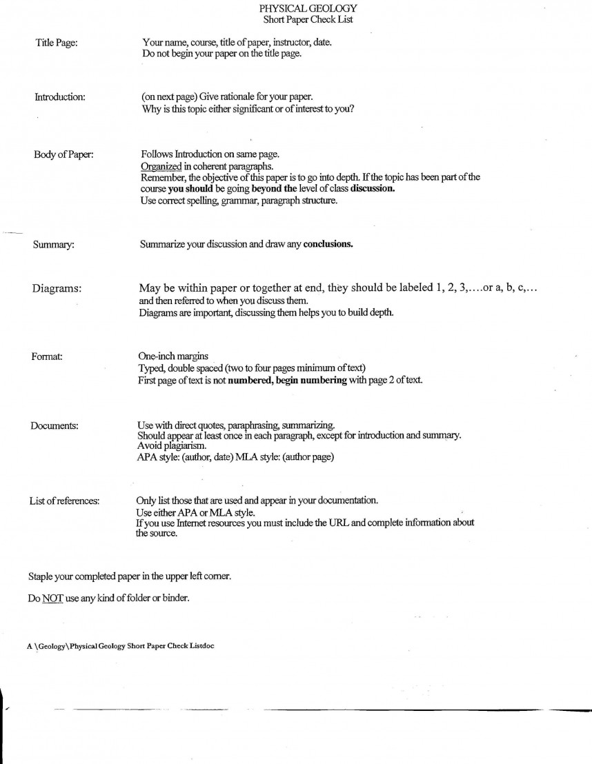 009 Short Paper Checklist Academic Research Fantastic Structure