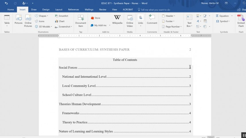 009 Table Of Contents For Research Paper Stunning A Apa Format How To Do Page Style