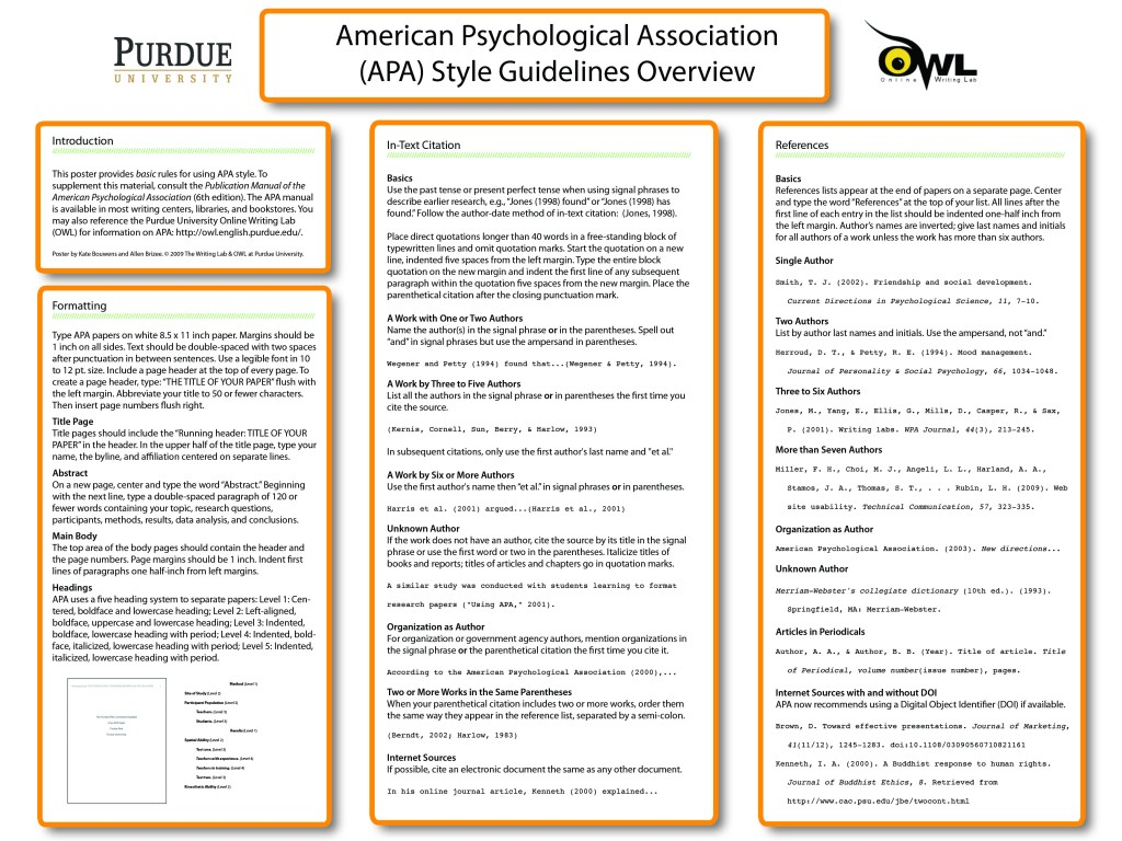 010 Apaposter09 Research Paper How To Write An Outline For Purdue Amazing A Owl Large