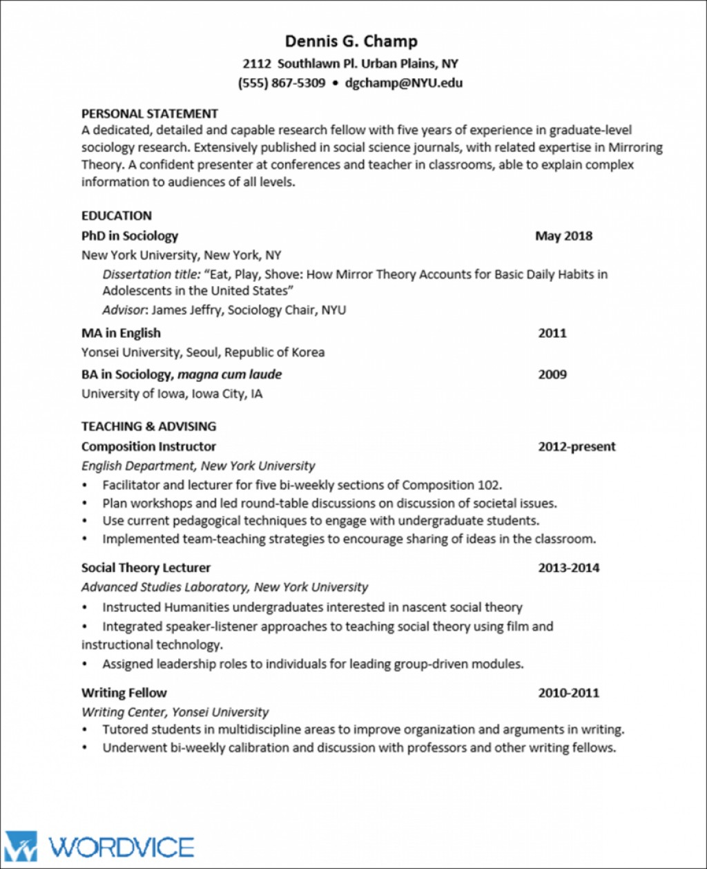 010 Chronological Order Of Research Paper Academic Cv Graphic2 Awesome A Large