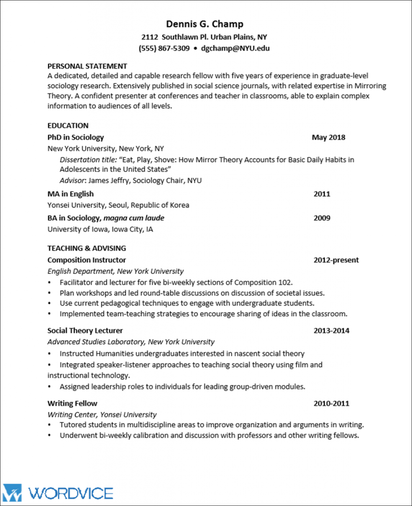 010 Chronological Order Of Research Paper Academic Cv Graphic2 Awesome A Full