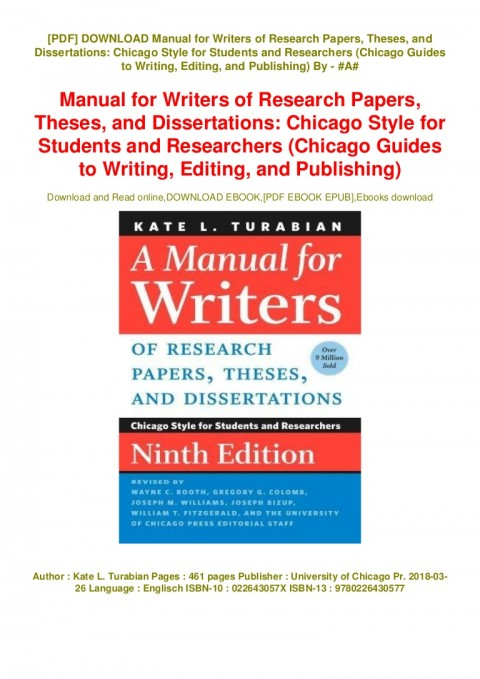 010 Download Manual For Writers Of Research Papers Theses Andations Chicago Style Students Thumbnail Unbelievable A And Dissertations Ebook 480
