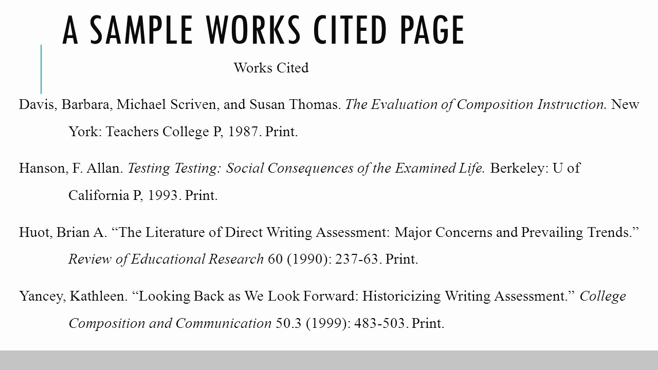 how to write a works cited page mla format
