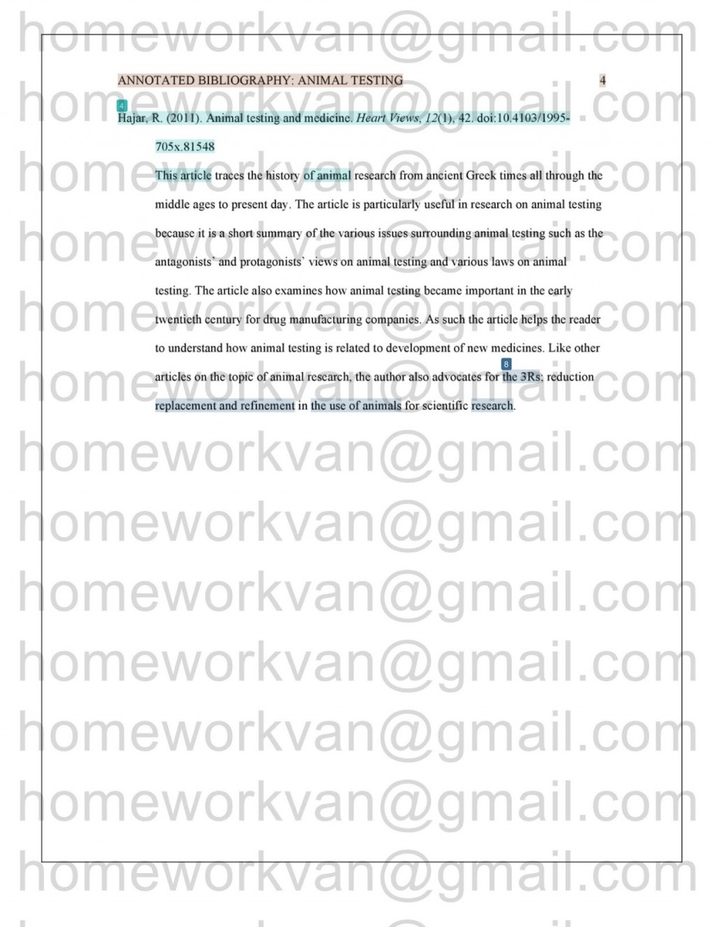 010 Homeworkvan2bannotated 3 Research Paper Animal Testing Awful Questions Large