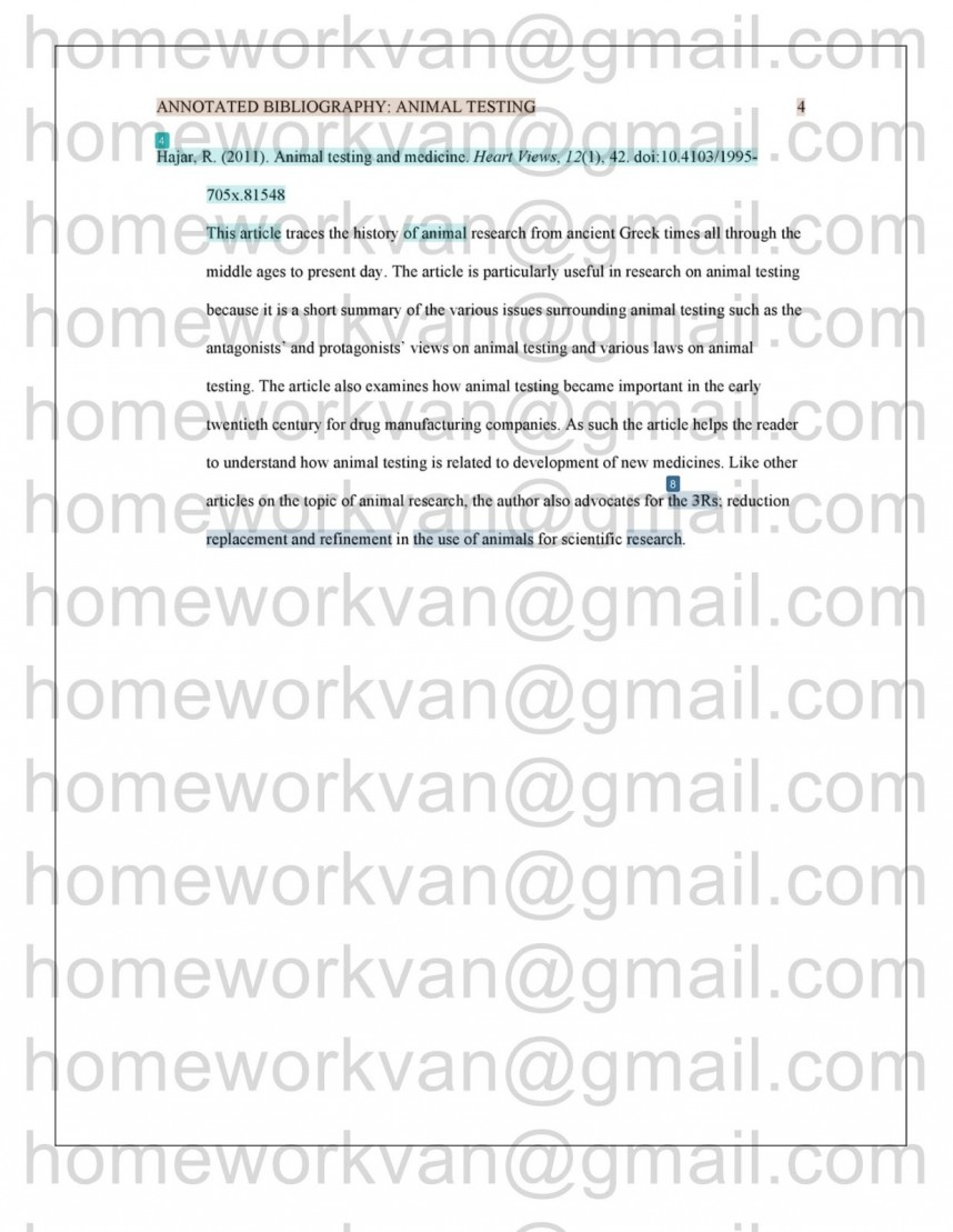 010 Homeworkvan2bannotated 3 Research Paper Animal Testing Awful Questions