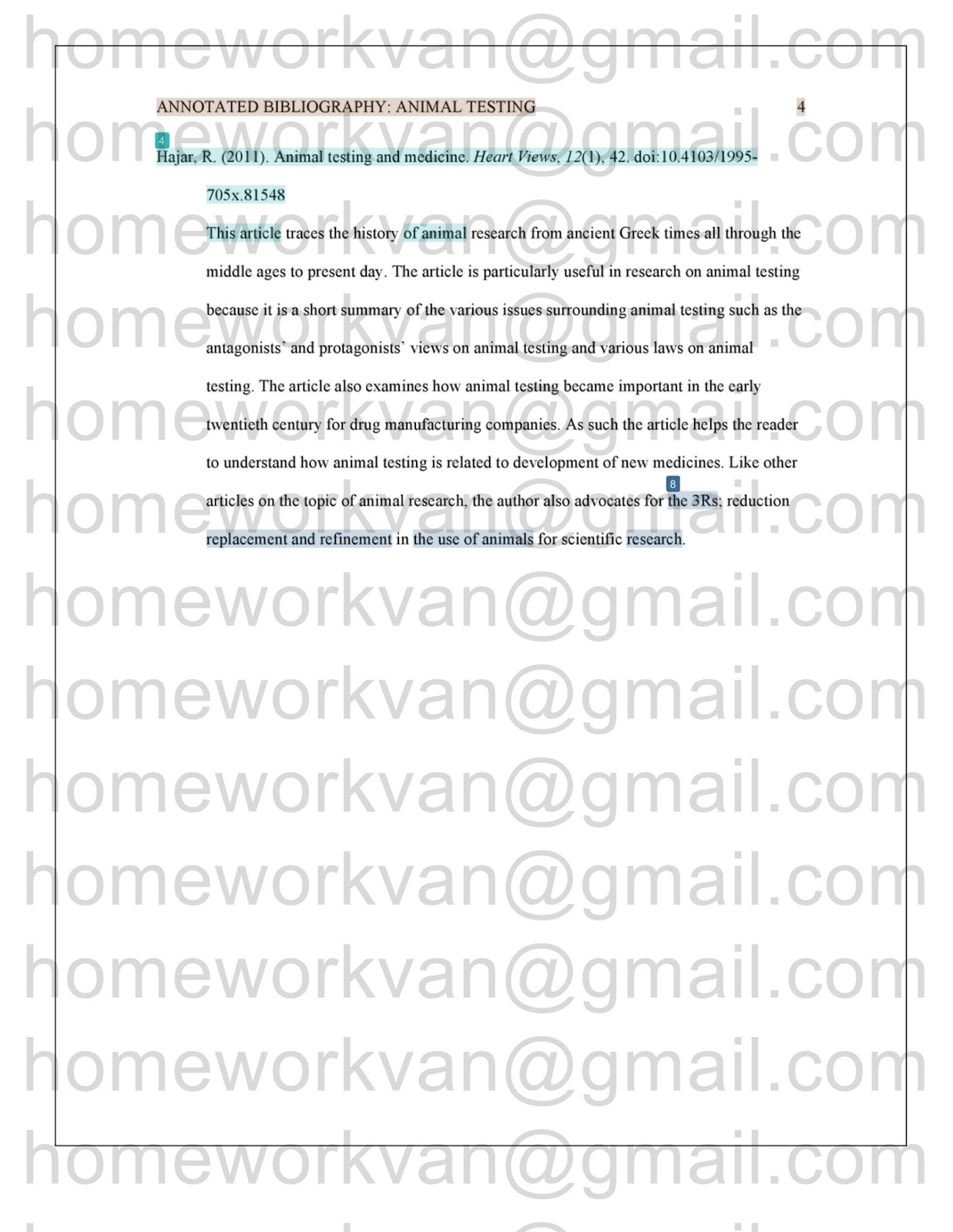 010 Homeworkvan2bannotated 3 Research Paper Animal Testing Awful Questions Full